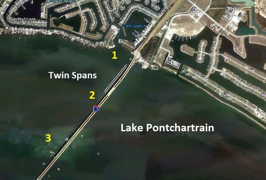 Twin spans map fishing reports from lake pontchartrain for Twin lakes fishing report